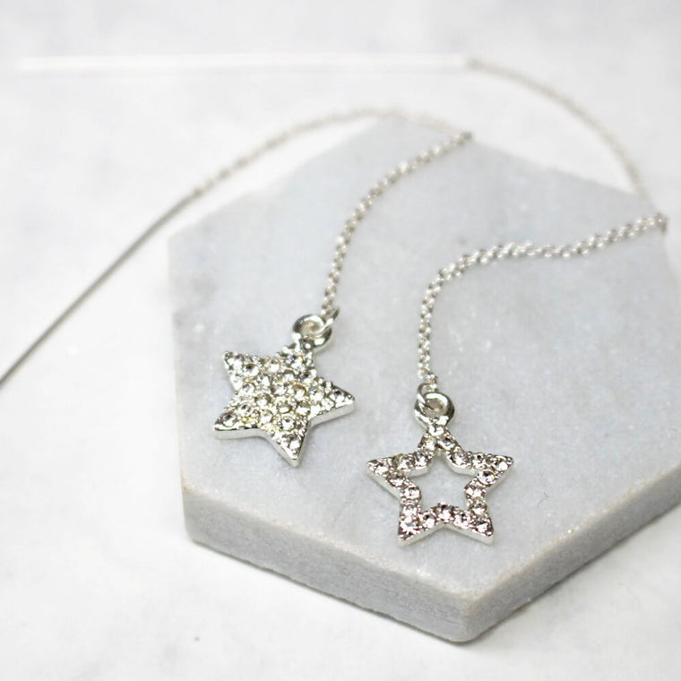 Diamante Star Thread Through Earrings