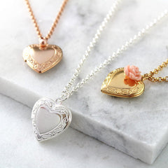 Silver, rold and rose gold necklaces with vintage heart locket