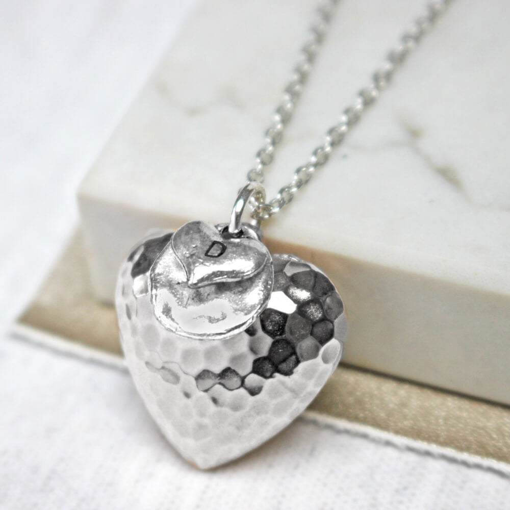 Close up of silver Personalised Large Hammered Heart Pendant