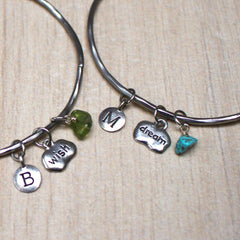 Wish and dream birthstone mantra stacking bangle in silver with turquoise and peridot