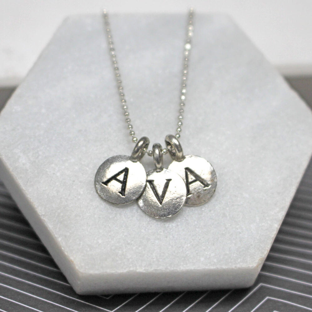 Close up of Personalised Three Letter Necklace silver