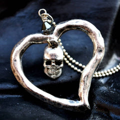 Sterling silver plated Skull Heart Necklace