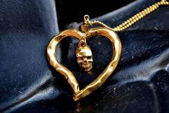 24ct gold plated Skull Heart Necklace