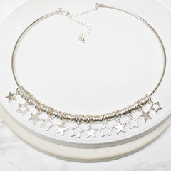 Sterling silver plated Star Personalised Choker Necklace