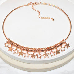 18ct rose gold plated Star Personalised Choker Necklace