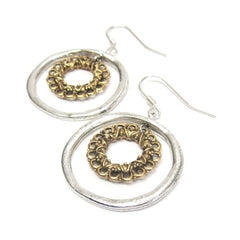 Vintage Hoop Circle Earrings, silver and gold mix