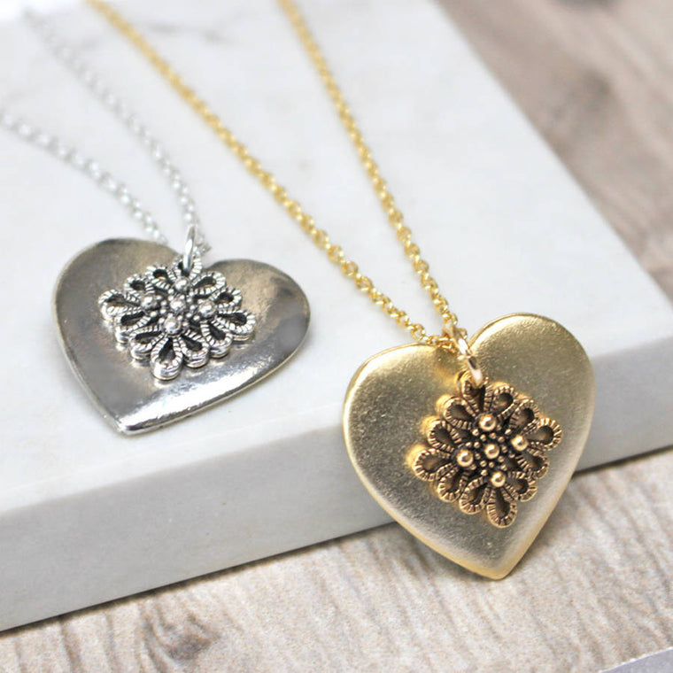 Filigree Lace Heart Pendant