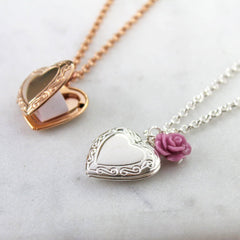 Silver and rose gold necklaces with vintage heart lockets with a hidden message inside
