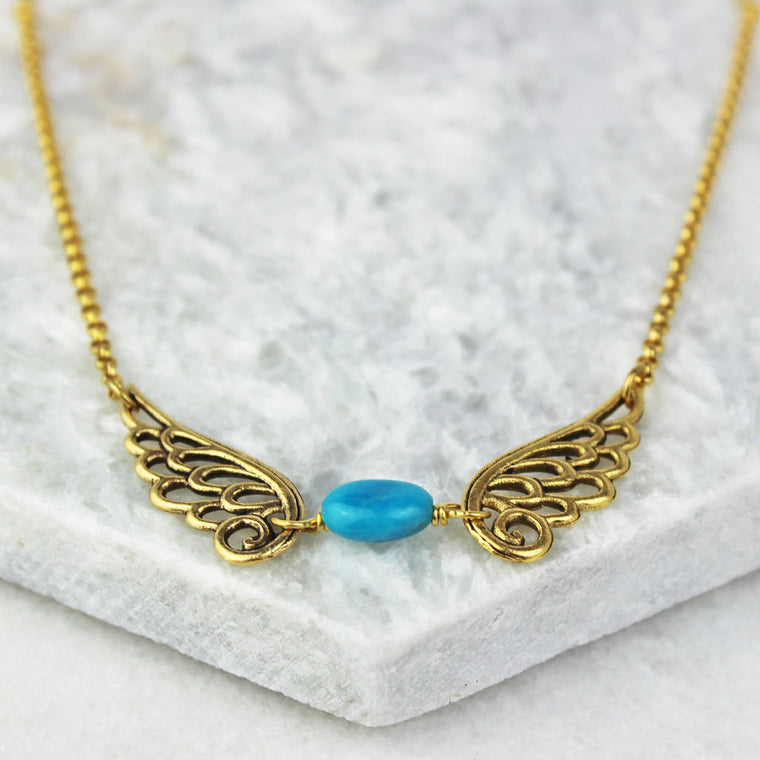 Angel Wing Birthstone Necklace