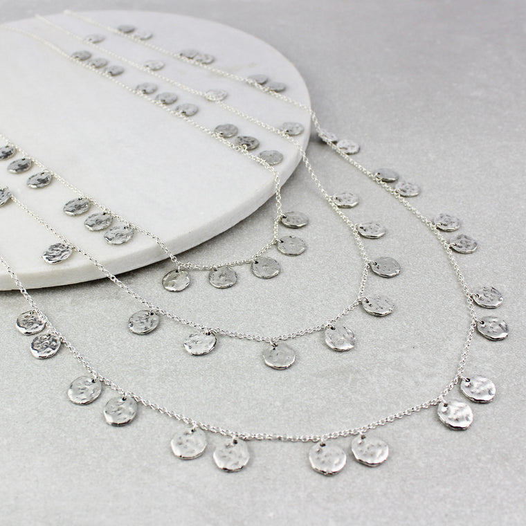 Triple Chains of Silver Necklace