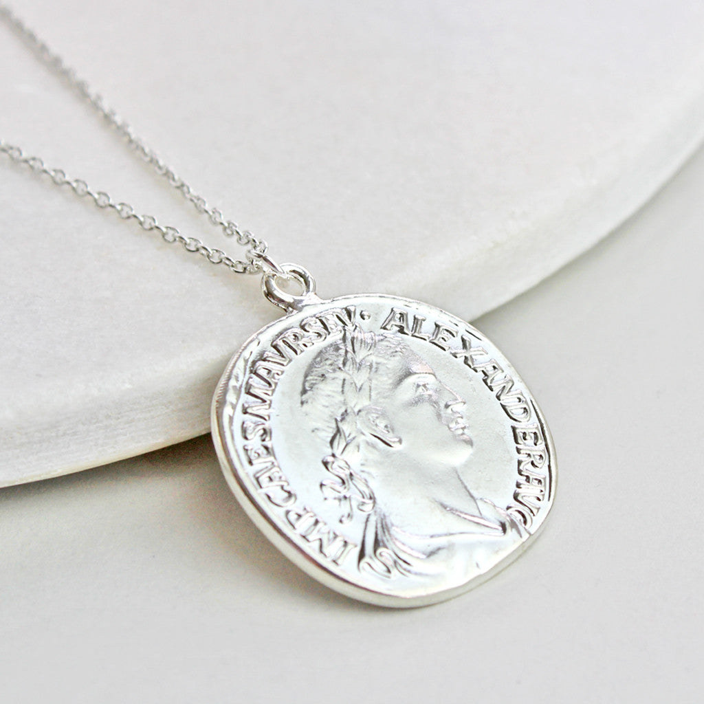 Personalised Coin Necklace, silver