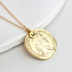 Personalised Coin Necklace, gold with initial charm