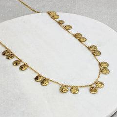 long chains of gold necklace close up