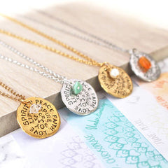 Close up of Birthstone Mantra Necklace selection