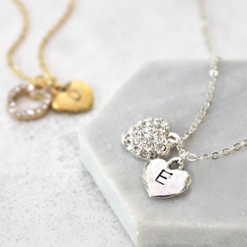 Personalised Diamante Heart Necklace sterling silver and 24ct gold