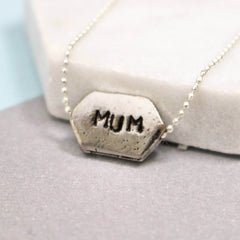 Hand stamped mum name necklace in silver
