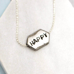 Hand stamped happy word necklace in silver