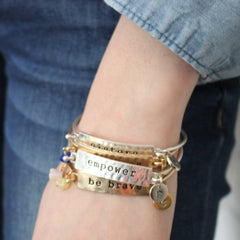 Stacking personalised mantra bracelets