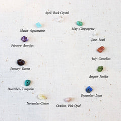 Jamie London semi-precious birthstone chart