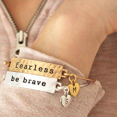 Fearless and be brave personalised mantra bangles with hand stamped heart charms