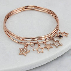Personalised Diamante Star Charm Bangles