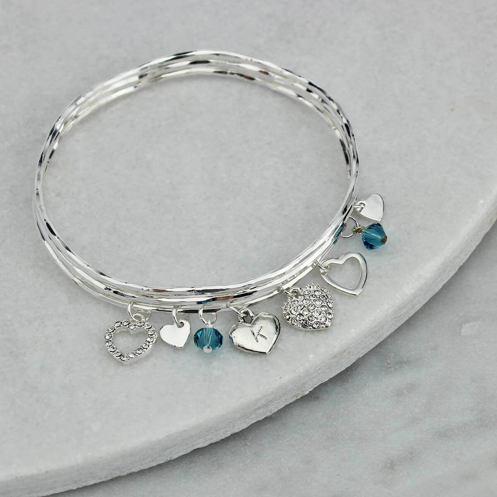 92ae21a64702a Personalised Diamante Heart Charm Bangle Set