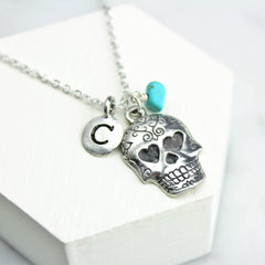 Personalised Sugar Skull Necklace