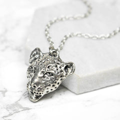Silver Cheetah Charm Necklace