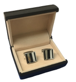 Black Stripe Silver Square Stainless Steel Cufflinks  C1-1