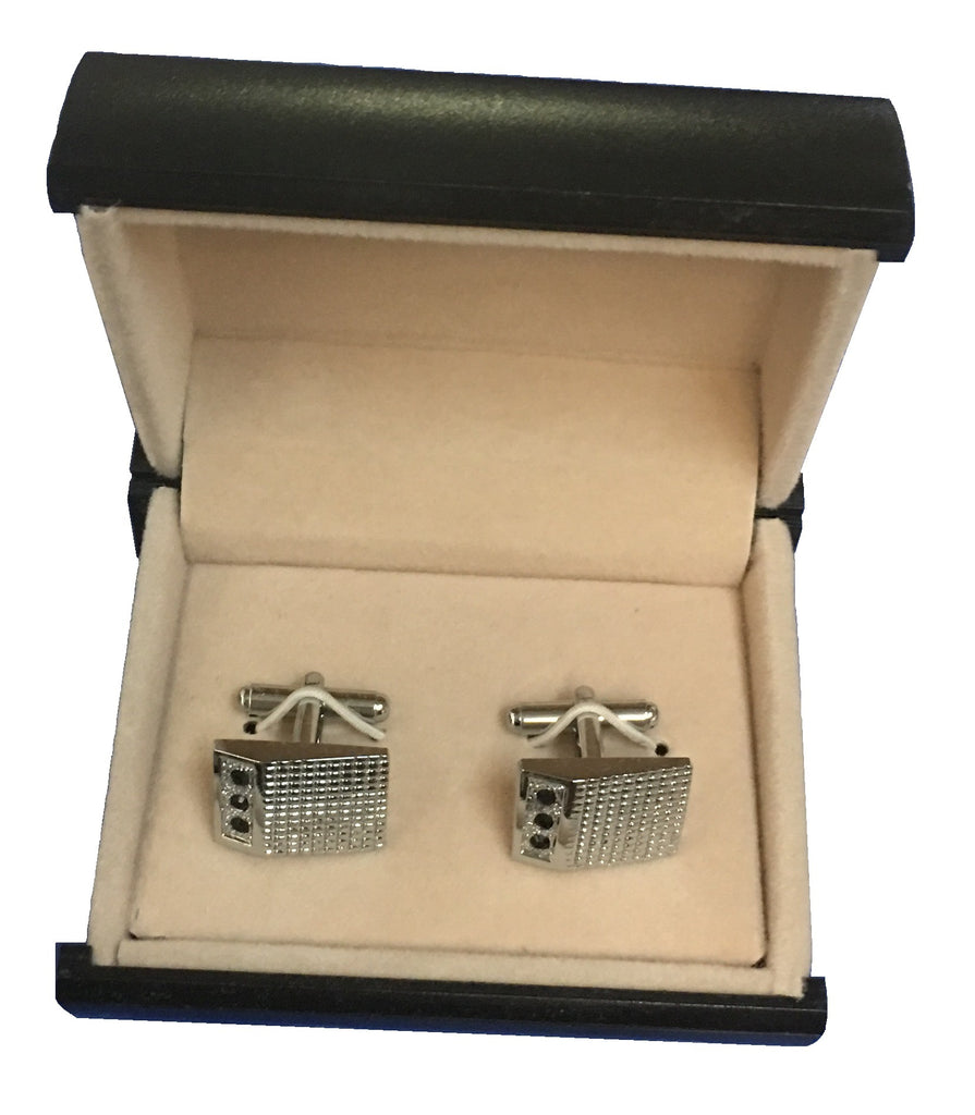 Sparkling Black and Cubic Zirconia Cufflinks C3-20