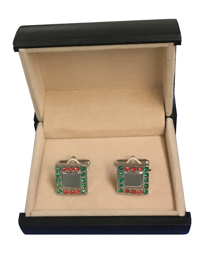Green & Red on Steel Square Cufflinks C3-21