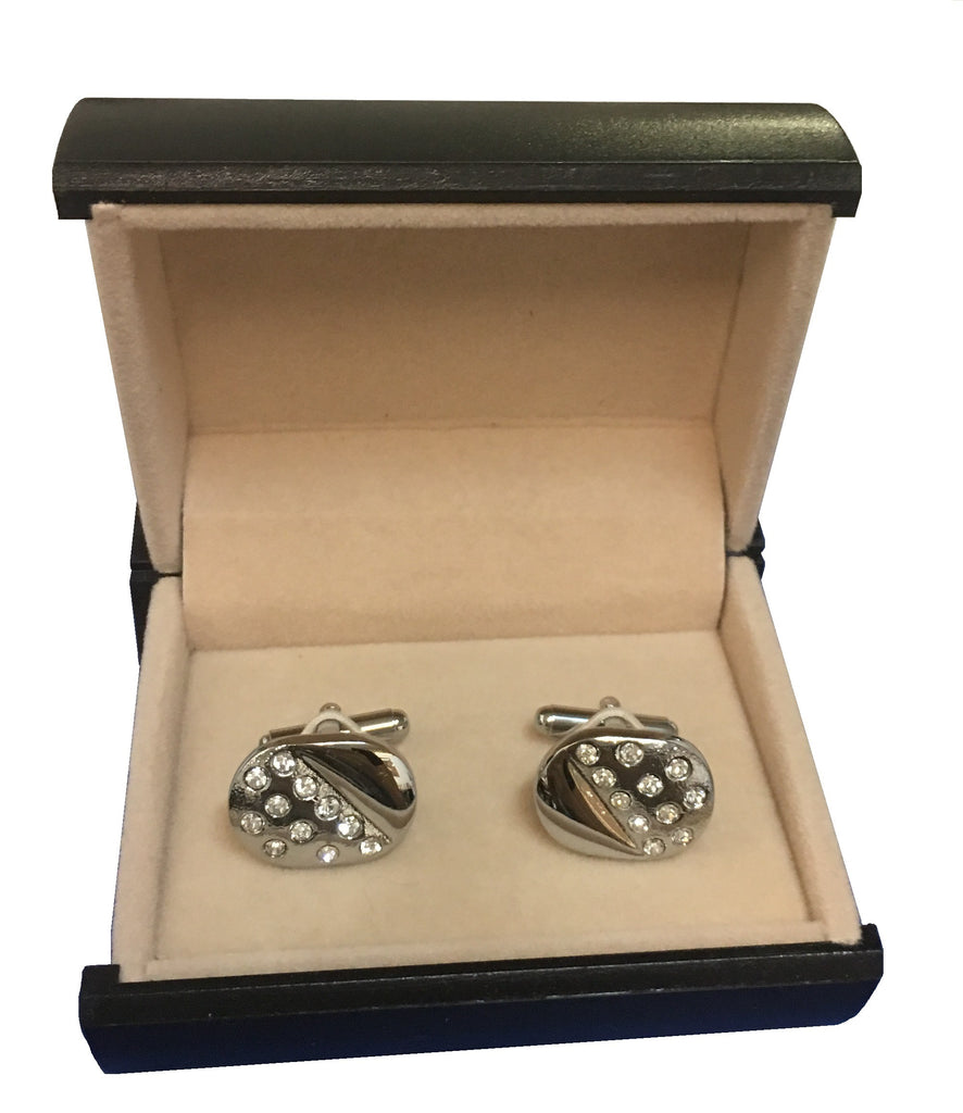 Sparkling Cubic Zirconia on Steel Oval Cufflinks  C3-34