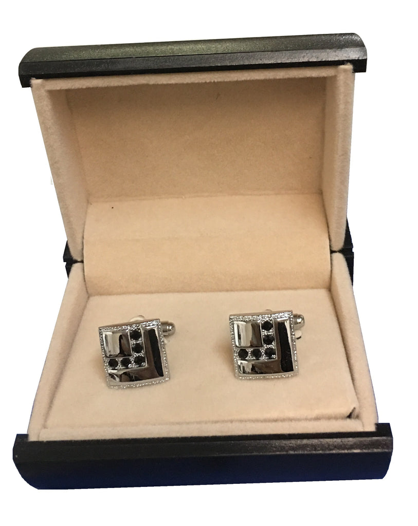 Elegant Stainless Steel & Cubic Zirconia Black Square Cufflinks  C3-35