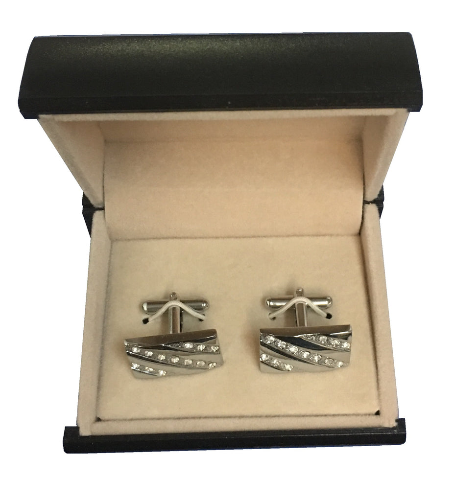 Stainless Steel & Cubic Zirconia Stylish Rectangular Cufflinks  C3-37