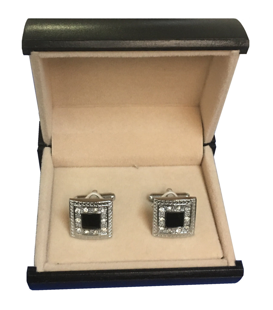 Stainless Steel Cufflinks w/Black Accents & Cubic Zirconia   C3-49