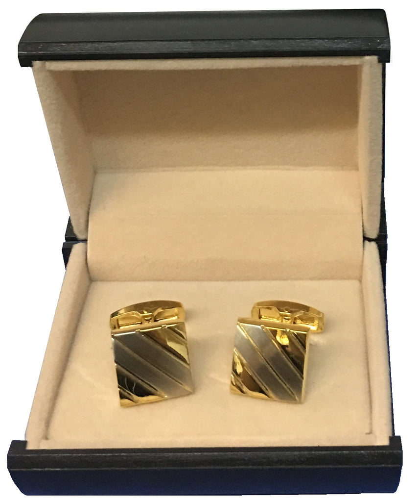 Stainless Steel & Gold Tone Stripe Square Cufflinks  C3-5