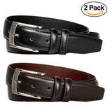 2-Pack Men's Black & Brown Leather Dress Belts - A3501/2 - DBABESTDEALS