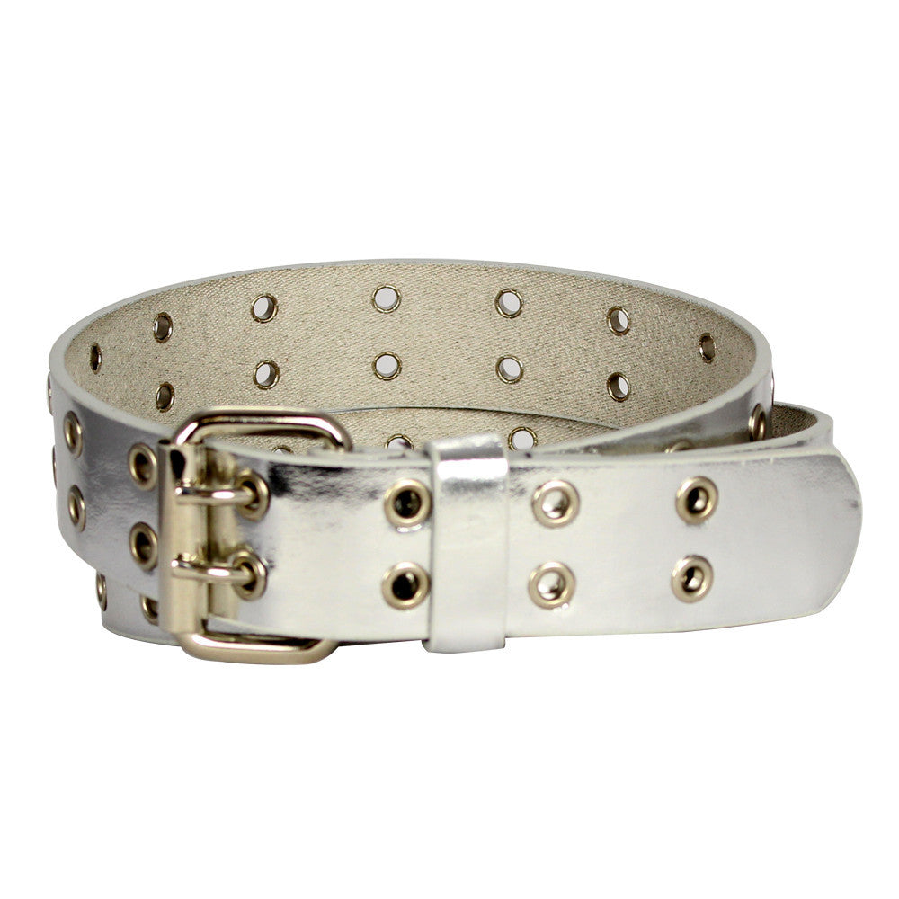 Girl's Glossy Double Hole Leather Belt - BK9915 - DBABESTDEALS