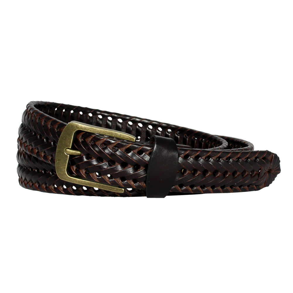 Men's Double Braided Leather Dress Belt - Brown