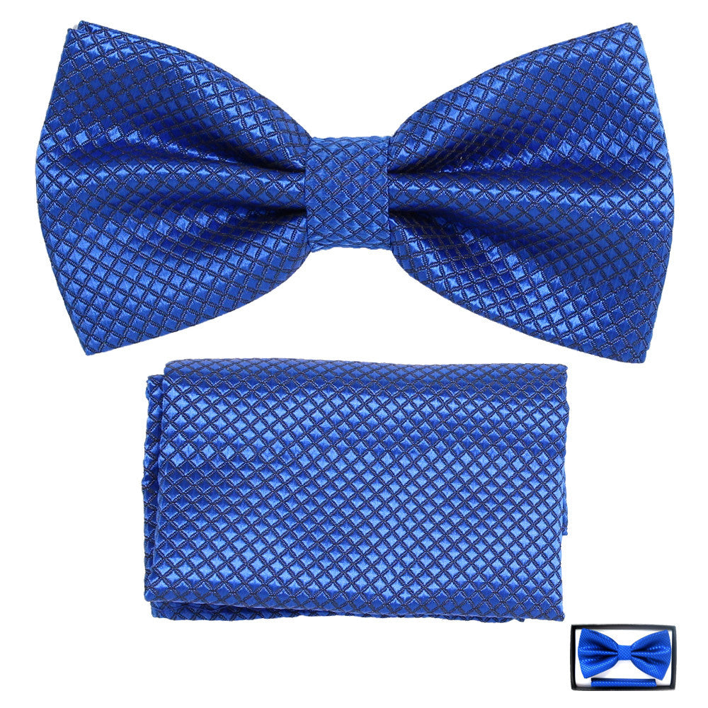 Men's Bow Tie With Matching Pocket Square - BT102 - DBABESTDEALS
