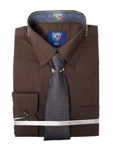 Men's Dress Shirt With Mystery Tie Set - TC102 GREY