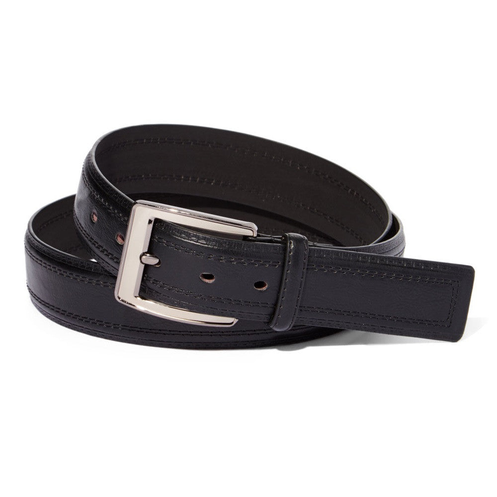 Men's Double-Stitched Square Frame Black Leather Belt - BW1021 - DBABESTDEALS