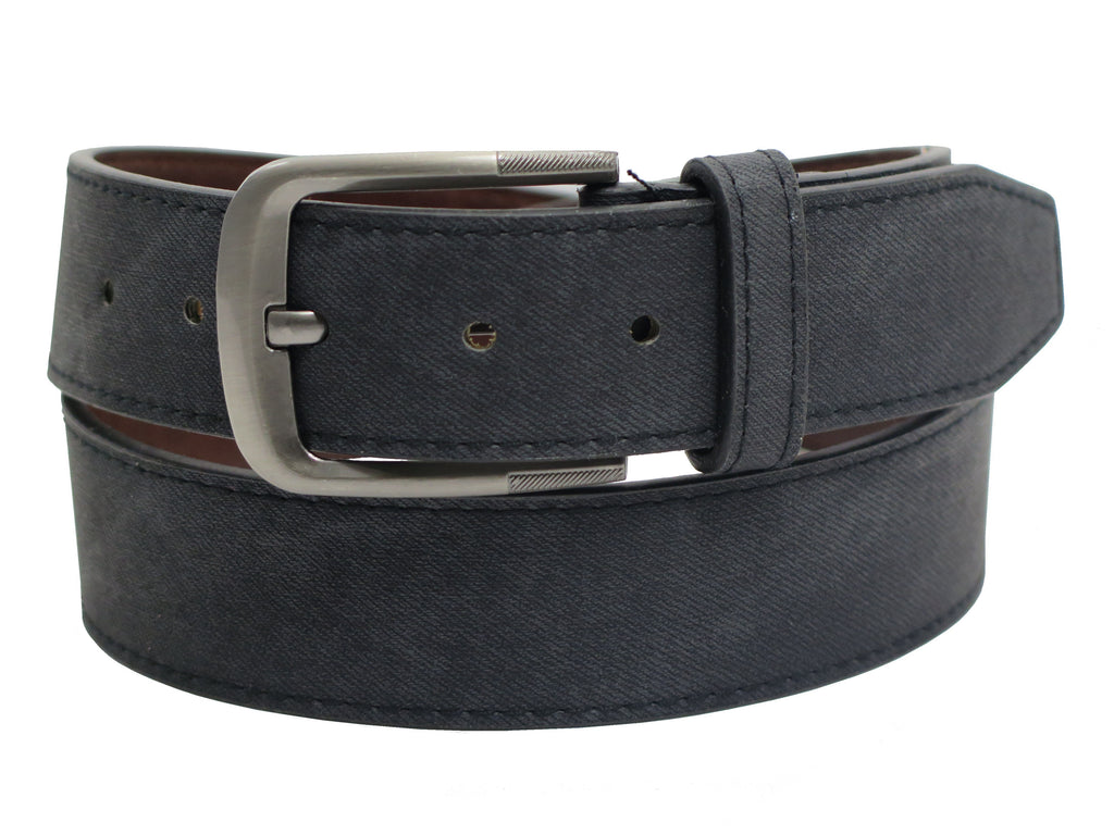 Men's Leather Belt w/Square Stainless Steel Buckle- BW1025 - Black