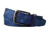 Men's Leather Belt w/Square Stainless Steel Buckle- BW1025 - Navy