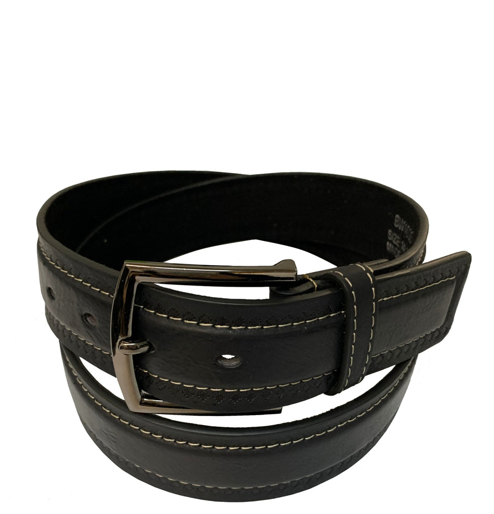 Men's Contrast Stitching Leather Belt w/Square Stainless Steel Buckle- BW1030