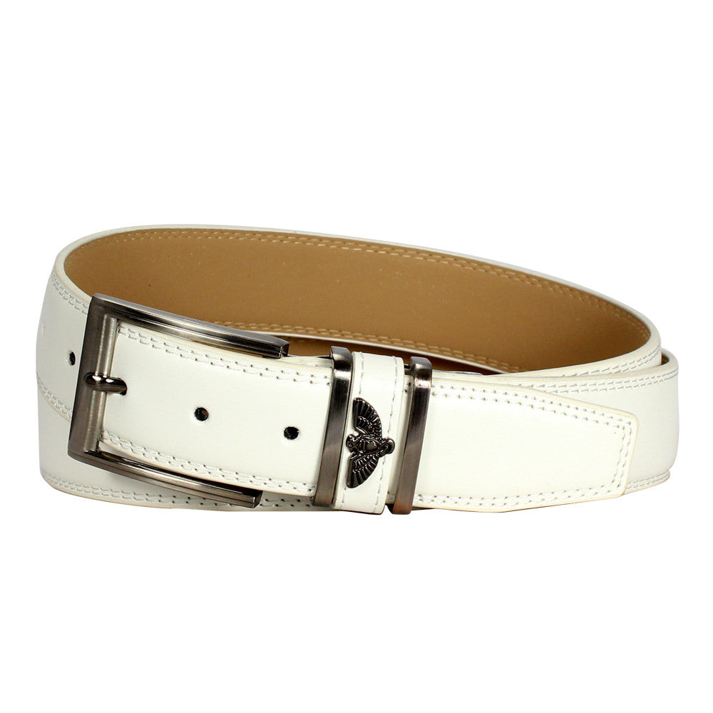 "Men's ""Eagle"" Double-Stitched Square Frame Leather Belt - White"