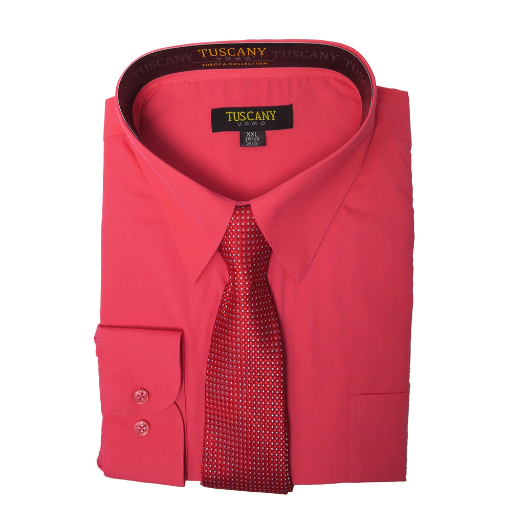 Men's 2-Piece Dress Shirt With Tie Set - Coral Red