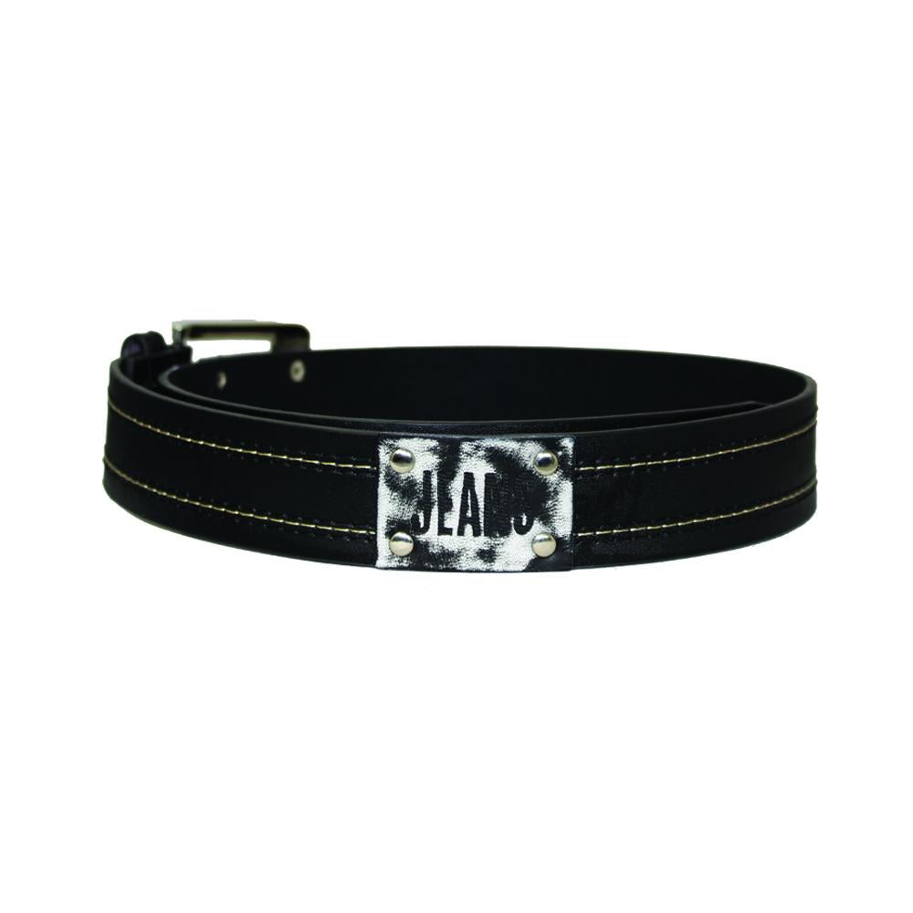 Men's Contrast Stitched 'Jeans' Buckle Belt - Black