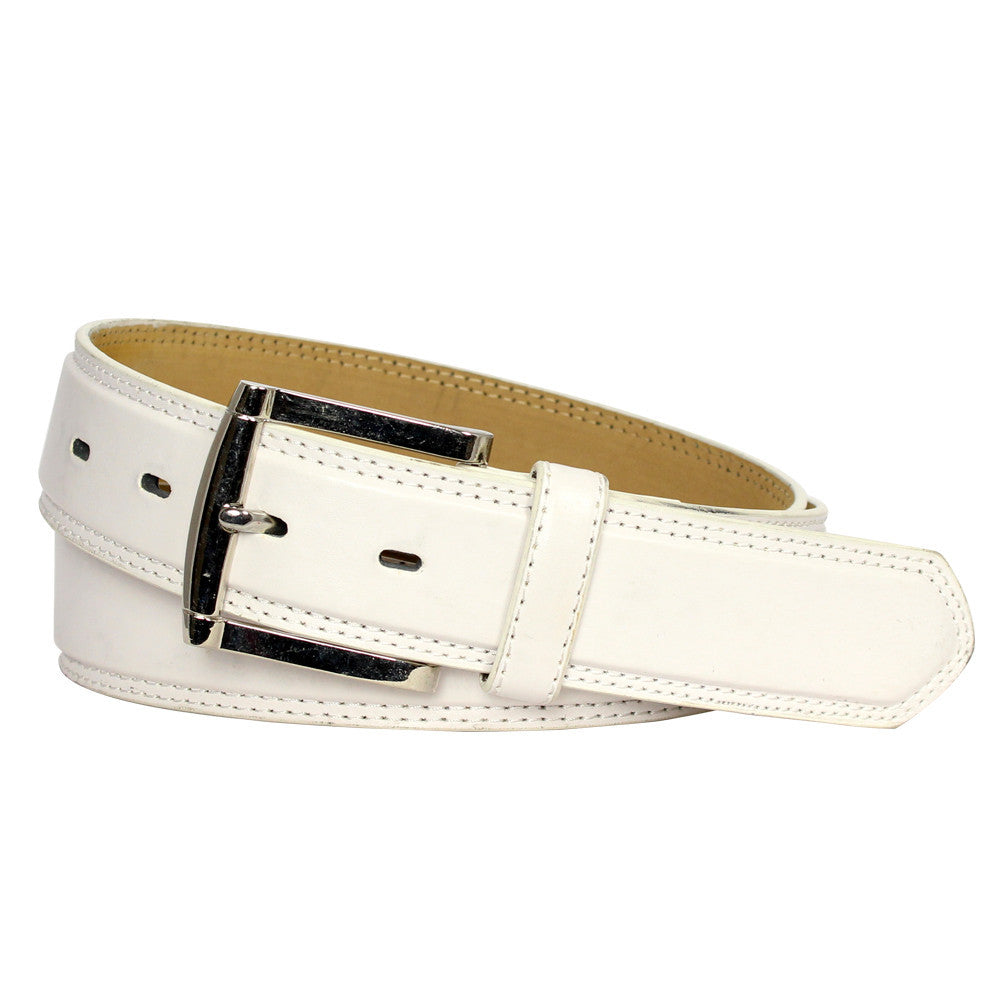 Men's Fine Stitched Leather Belt - White
