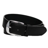 Men's Reflective Buckle Stitched Leather Belt - F162 - Black